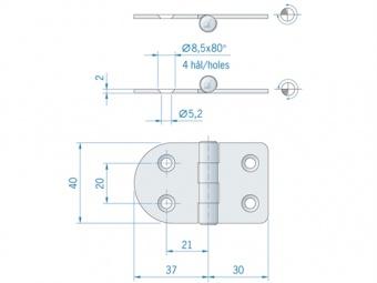 Круглая/прямая плоская петля из нержавеющей стали ROCA 67 x 40 мм