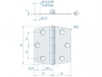 Плоская петля из нержавеющей стали ROCA 74 x 75 мм