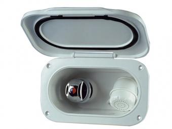Палубный душ и смеситель в овальном пластиковом кожухе 190x117 мм
