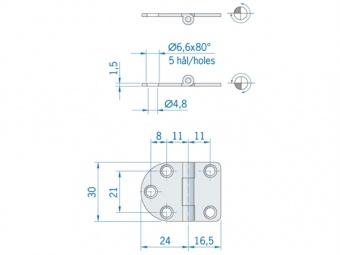 Круглая/прямая плоская петля из нержавеющей стали ROCA 40,5 x 30 мм