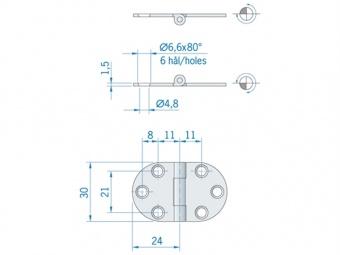 Округлённая плоская петля из нержавеющей стали ROCA 47x30 мм